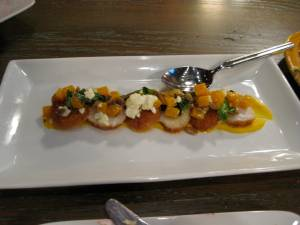 Scallops with sweet potato puree and goat cheese-Extra Virgin