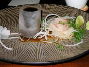 "Red snapper with a citrus soy sauce in an ice ""bowl"""