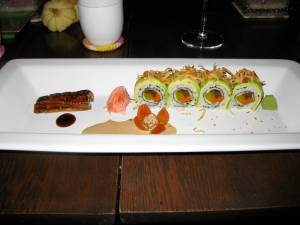 Eel in eel sauce, with vegetable sushi