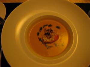 Pumpkin Bisque with lobster--Krause Dining